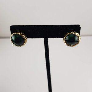 Vtg Signed Jomaz Mazer Emerald Cabachon Earrings